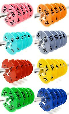 Round Clothing Rack Size Dividers Plastic Hangers Ring Xxs-xxxl 40 Pcs 8 Colors
