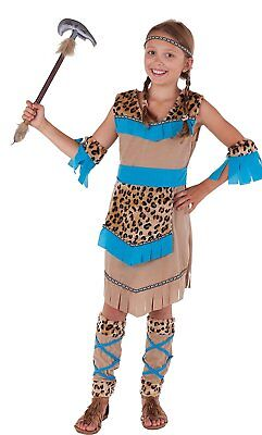 Indianerin Wilder Westen - komplettes Indianer Kostüm Mädchen beige-blau - - Indianerin Kostüm