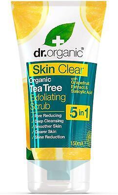 DR ORGANIC Tea Tree Skin Clear Exfoliating Face Scrub, Pore Reducing, 150ml Tube