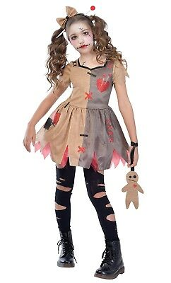 Girls Teens Creepy Voodoo Doll Scary Evil Halloween Fancy Dress Costume 6-12Yrs