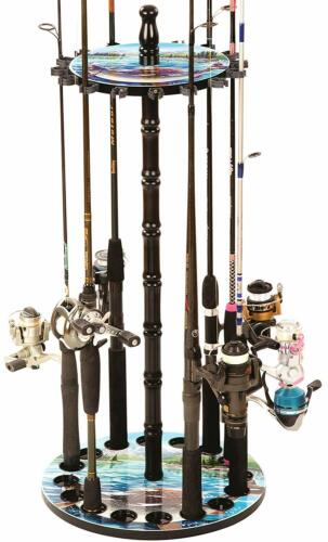 Fishing Rod Reel Combo Rack Storage Organizer Round Floor Stand Holder Decorativ