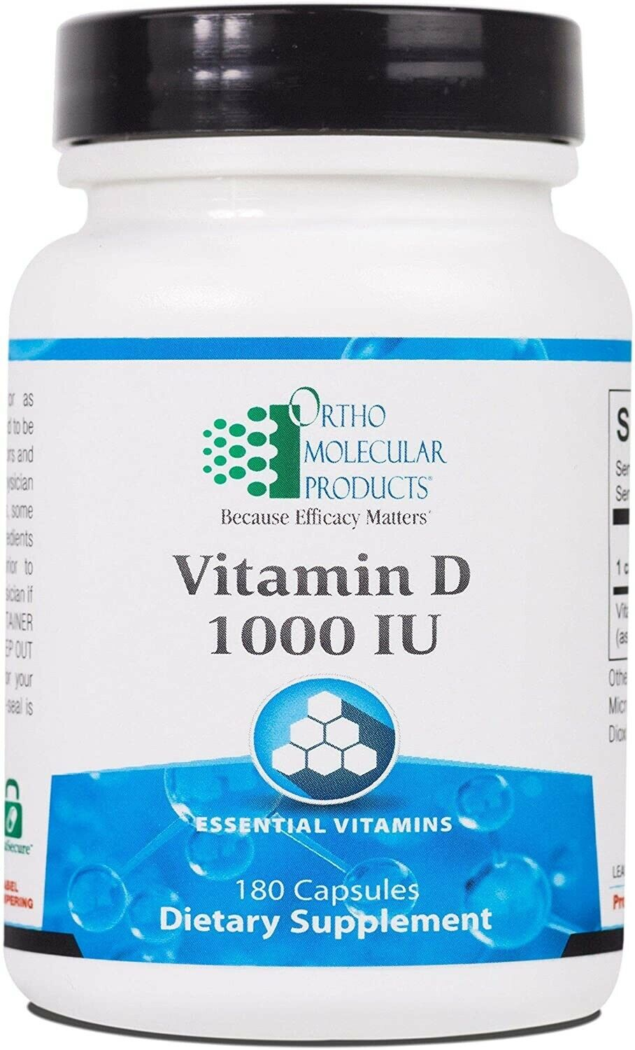 Ortho Molecular Products Vitamin D3 1000 IU 180 Capsules - New! Exp 05/2021
