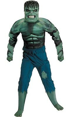Boys L 8 10 Incredible Hulk Muscle Suit Costume w/ Mask by Disguise NIP  ](Green Muscle Suit)