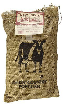White Gourmet Popping Corn - Amish Country Popcorn-2Lb Burlap Sack Medium White Gourmet Popcorn -Popping Corn