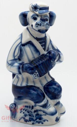 Dog gzhel porcelain shtof for vodka liquor handmade