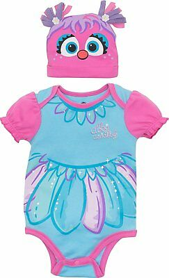 Sesame Street Abby Cadabby Baby Girls' Costume Bodysuit and Hat, Blue and Pink - Infant Sesame Street Costumes
