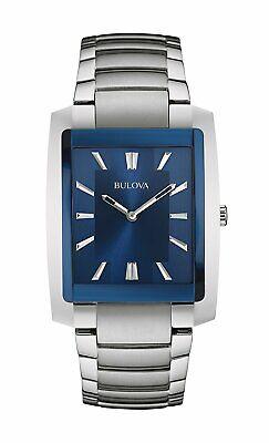 Bulova Men's Quartz Rectangular Silver-Tone Case Blue Dial 35 mm Watch 96A169