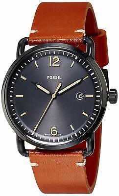 Fossil FS5276 Men's Commuter 42mm Black Steel Black Dial Brown Leather Watch