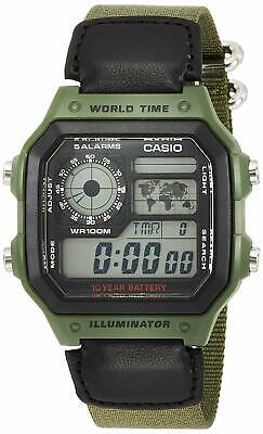 Casio AE1200WHB-3B Mens Black Green Digital Sports Watch 100M Cloth Band