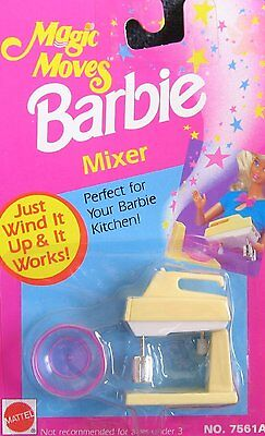 Barbie Magic Moves MIXER - Wind It & It Works! MIX MASTER w Bowl (1992 Arcotoys,