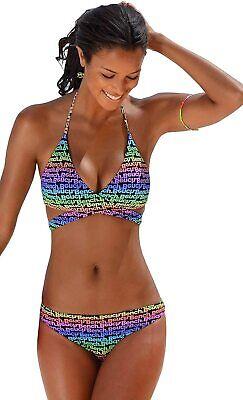 Bench. Damen Triangel Bikini Wickel Optik Softpads Multi Print, 40 Cup C/D J6784