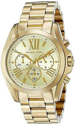 Michael Kors MK5605 Bradshaw Gold-Tone Chronograph Men's Women's Watch ladies