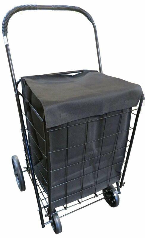 UPT Extra Large Heavy Duty Folding Shopping Laundry Storage Cart with...