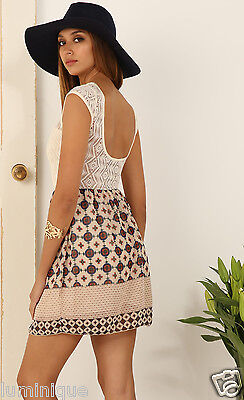 Kleid Stretch Lace Top (Lace Top Chiffon Skirt Printed Sun Dress L 12 10 Summer Stretch Lined Low Back)