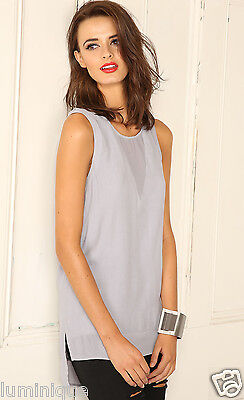 Sheer Panel Grey Chiffon Top 12 M SPICYSUGAR Party Blouse Tiered Mesh Keyhole ()
