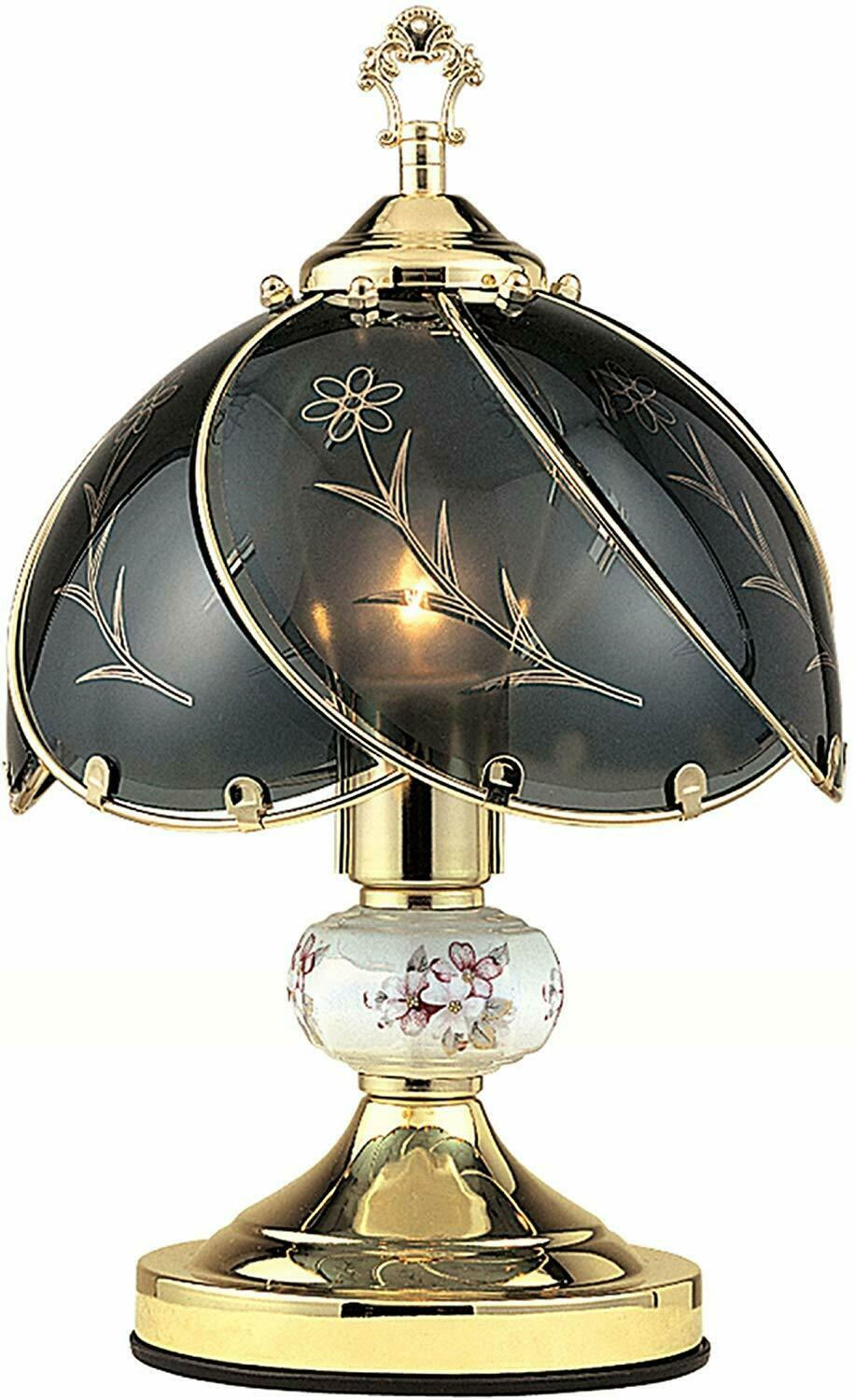 """14""""H Black Glass Floral Theme with Gold Finish Base Desk Tab"""