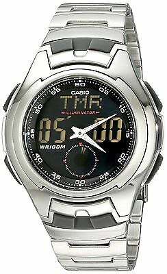 Casio Men's Combination Watch, 5 Alarms, 100 Meter WR, Metal Band, AQ160WD-1BV