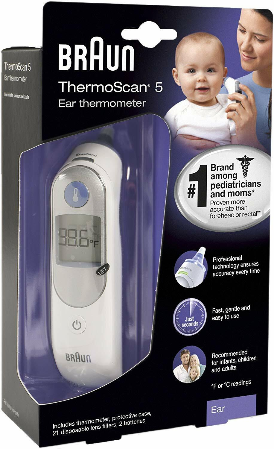 Braun Digital Ear Thermometer ThermoScan 5 – Free Shipping Health & Beauty