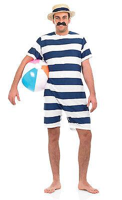 MENS VICTORIAN EDWARDIAN SEASIDE BATHING SUIT SWIMSUIT FANCY DRESS COSTUME HAT M