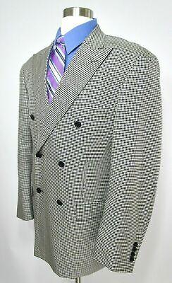 Paul Fredrick Double Breasted Sport Coat Blazer Jacket Houndstooth Silk Wool 43R Double Breasted Silk Coat