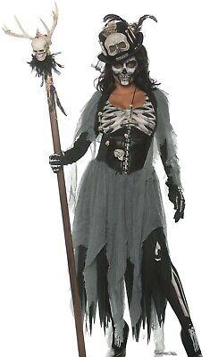 Voodoo Doctor Costume (Black Magic Voo Doo Priestess Costume Womens Voodoo Witch Doctor- Small S 4-6)