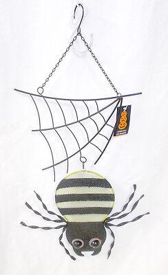 ShopKo Black Green Orange Hanging Web Halloween Dangling Spider 21in NIP