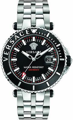 Versace V-Race Diver Swiss Date 200M Black Dial Silver Men's Watch VEAK00318 SD