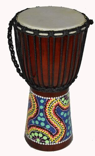 "16"" DJEMBE DRUM BONGO HAND CARVED AFRICAN ABORIGINAL DOT ART MUSICAL INSTRUMENT"