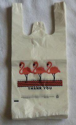 Lot 1000 Flamingo Plastic Thank-you T-shirt Shopping Bags Jumbo