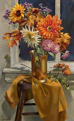 Floral Still Life Itzhak Holtz Giclee on canvas 24 x 14-3/4 Artwork Reproduction