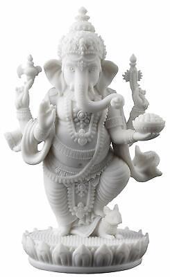 Standing Ganesh (Ganesha) Elephant Lord of Prosperity & Fortune White Statue