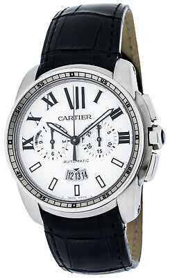 Cartier Calibre Chronograph Automatic Black Leather Men's Watch W7100046