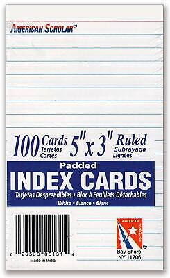 5 X 3 Vertical Lined Index Cards On Tear-off Pad - Vertical Ruled
