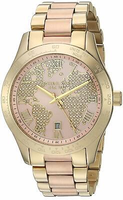 Michael Kors MK6476 Layton 44MM Women's World Map Crystal Stainless Steel Watch