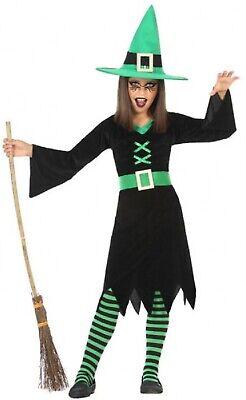 Mädchen-grün Hexe Halloween Büchertag Unheimlich Kostüm Kleid Outfit 3-12 - Unheimliche Kostüm Mädchen