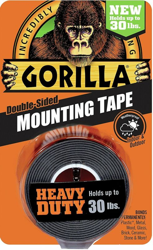 "Gorilla Glue 6055001 Heavy Duty Mounting Tape, Double-Sided, 1"" x 60"", Black"