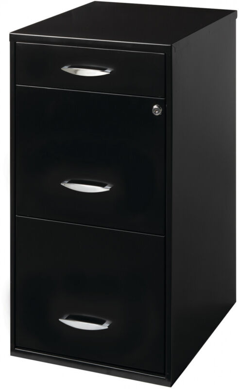 3 Drawer File Cabinet with Pencil Drawer, Black, Aluminum, Durable, Classic