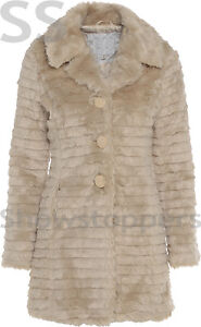 FAUX FUR COAT NEW Womens Size 8 10 12 14 16 Ladies JACKET Winter