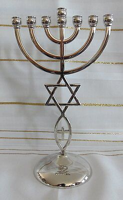 "8.5"" Messianic Hannukah Jewish Star of David SILVER Jerusalem Temple Menorah"