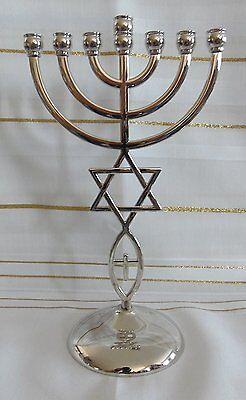 "8.5"" Messianic Hannukah Jewish Star of David SILVER Jerusalem Temple Menorah"