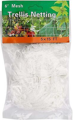 Plant 5 x 15FT Trellis Netting, Heavy-Duty Polyester Square Mesh Net White 1Pack