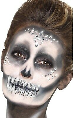Ladies 100 Clear Crystal Stick On Face Gems Skull Make up Halloween Fancy Dress - Halloween Make Up Skull