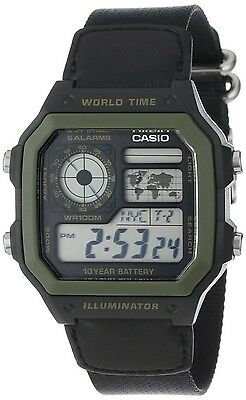 (Casio AE1200WHB-1B Mens Black Green Digital Sports Watch 100M Cloth Band NEW)