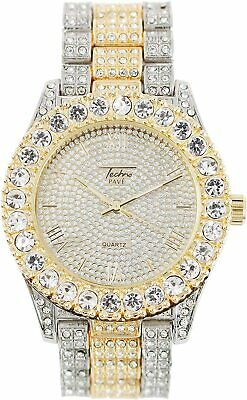 Men Iced Watch Bling Rapper Club Simulate Diamond Stone Metal Band Hip Luxury