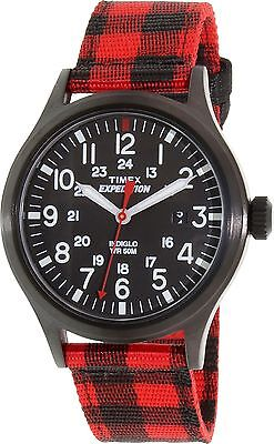 """Timex TW4B02000, """"Expedition"""" Red Nylon Buffalo Check Watch, Scout, Indiglo,Date"""