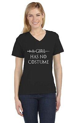 No A Halloween (A Girl Has No Costume - Funny Halloween V-Neck Women T-Shirt)