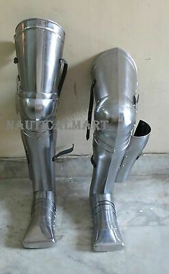 Medieval Knight Armor Leg Guard Set Greaves W/Shoes