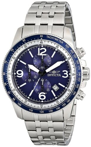 Mens Watches - Invicta Men's 13961 Specialty Chronograph Stainless Blue Dial Watch
