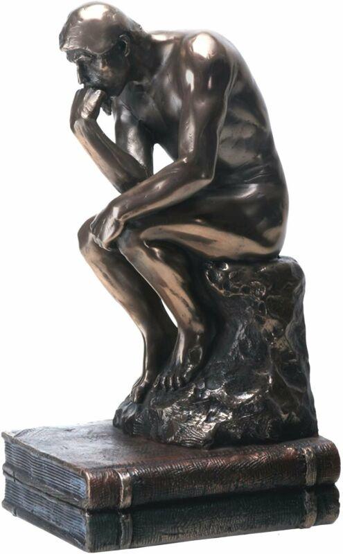 YTC 7.75 Inch The Thinker Nude Male Statue Figurine, Bronze Colored
