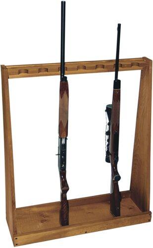 Rifle Shotgun Rack Free Standing Gun Storage Shelf Barn Wood 7 Guns Indoor Safe